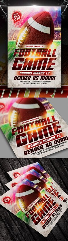 Football Game Flyer by AyumaDesign Features :Size 4x6 inc   0,25 inc (Bleeds)PSD files Full LayeredOrganised layer and grouped All Text is Editable CMYK Color 300 DP