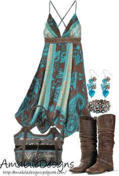 """Country Chich"" by amabiledesigns on Polyvore. I wouldn't wear the boots or carry the bag, but I really like the dress."