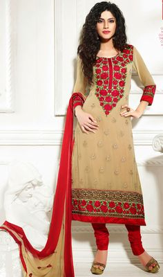 Make heads turn with this beige and red embroidered georgette churidar suit. The lace, patch and resham work seems to be chic and perfect for any event. Georgette Dresses, Churidar Suits, Straight Cut, Dress Collection, Cold Shoulder Dress, How To Make, How To Wear, Fancy, Beige