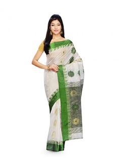 White and Green Embroidered Handloom Garad Silk #Saree