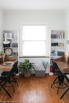 A neglected room is transformed into a clean and functional shared office space for children and adults! A perfect place to work and study.