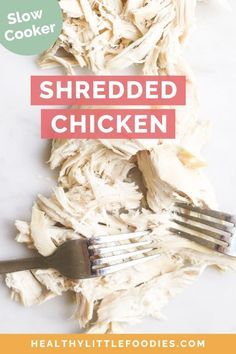 Slow Cooker Shredded Chicken takes just minutes to prep and can be used in a wide range of dishes from salads, sandwiches, soups and main meals. Dairy Free Recipes For Kids, Baby Food Recipes, Chicken Recipes, Dinner Recipes, Toddler Recipes, Turkey Recipes, Vegetable Recipes, Meat Recipes, Slow Cooker Shredded Chicken