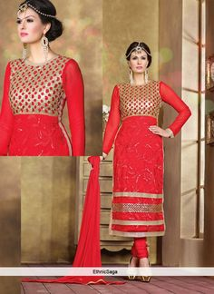 60fbc4b67f82 Red Georgette Lace Work Churidar Suit