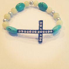 Beaded cross bracelet  by AroundMyWrist on Etsy, 10.95