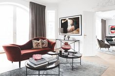 Living room with an dark red velours sofa from Gubi. Velour Sofa, Living Room Designs, Living Room Decor, Living Rooms, Modern Sofa Designs, Dream Decor, Color Inspiration, Accent Chairs, Gallery Wall