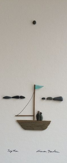 8 by 15 sail boat with couple pebble art by sharon by PebbleArt