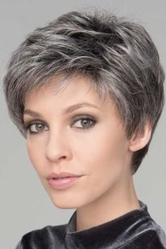 Spring Hi by Ellen Wille Wigs Monofilament Crown Lace Front Wig Short Grey Hair Crown Ellen Front lace Monofilament spring Wig Wigs Wille Short Grey Hair, Short Hair With Layers, Short Hair Cuts For Women, Short Hairstyles For Women, Black Hair, Grey Short Hair Styles, Short Hair Over 60, Hair Cuts For Over 50, Short Choppy Hair