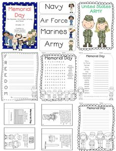 Memorial Day Activities, Mini-book, Posters, Writing, and more! Works best with Grades 1-3 but you could use it for K-4 and add or remove non-practical items. http://www.teacherspayteachers.com/Product/Memorial-Day-activities-mini-book-writing-and-posters-1244322