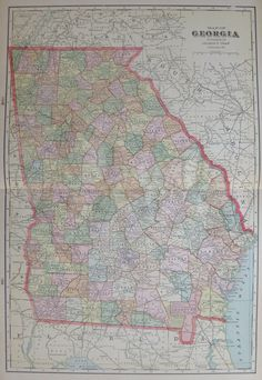 Antique GEORGIA Map Of Georgia State Map Print Gallery - Us map 1908