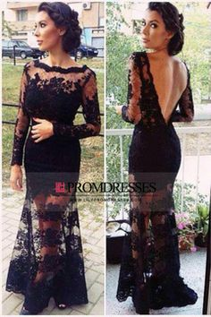 2015 Prom Dresses Mermaid/Trumpet Long Sleeves Floor Length Lace Zipper Up Back With Applique US$ 189.99 LilyPYCLDAQC - lilypromdresses.com