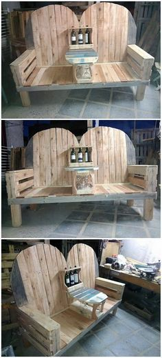 Here we have the option of the artistic wood pallet bench that simply gives out the impression of the masterpiece. This bench outlook do adds a unique look as its side corners are completely included with the wood pallet and center portion is featuring some artistic picture of table wine rack stand for you.