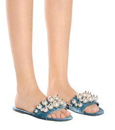 Miu Miu - Embellished velvet slides | mytheresa.com