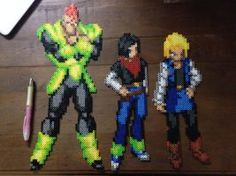 Androids 16, 17, and 18 beadsprites by Ellsworth-Toohey