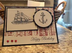 Pat has a wonderful gallery full of inspiration!  I may have to do another card in her honor.  Here's the card I cased http://www.splitcoaststampers.com/gallery/photo/2641114?&cat=500&ppuser=34361     I did add cherry cobbler for my background instead of making my card monochromatic. I also added the anchor & made my card landscape.  tfl