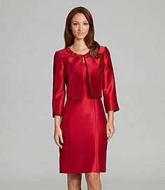 Another cocktail suit that's great for interview. Make sure the bolero is a good proportional fit for you - otherwise, it's all GO!  Tahari by ASL Rosette Jacket Dress #Dillards