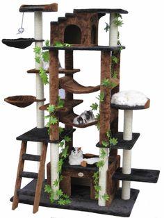Black Cat Tree House Condo Kitty Kitten Scratching Tower Pet Club Sleep Leaves #CatTree