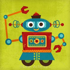 Tangletown Fine Art Robot 2 by Nancy Lee Gallery Wrap Canvas Art printed on heavy museum grade canvas by As Shown Arte Robot, Robot Art, Vintage Robots, Fall Mantel Decorations, Framed Artwork, Wrapped Canvas, Graphic Art, Canvas Art, Canvas Size