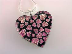 Dichroic Heart Pendant, Fused Glass Jewelry, Pink Hearts Dichroic Necklace by AngelasArtGlass on Etsy https://www.etsy.com/listing/155198743/dichroic-heart-pendant-fused-glass