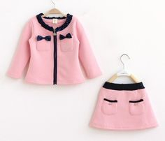 Solid long sleeve coat with skirt cute sport set kid clothes girls clothing Baby Girl Dresses, Little Dresses, Baby Dress, Baby Girls, Kids Girls, Toddler Girl, Lace Dresses, Little Girl Fashion, Toddler Fashion