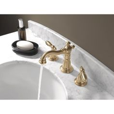 Buy the Delta Champagne Bronze Direct. Shop for the Delta Champagne Bronze Victorian Widespread Bathroom Faucet with Pop-Up Drain Assembly - Includes Lifetime Warranty and save. Widespread Bathroom Faucet, Lavatory Faucet, Bathroom Sink Faucets, Gold Bathroom, Bathroom Art, Bathroom Ideas, Bathrooms, New Toilet, Best Resolution