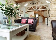 Open plan living space, ideas for our possible converted cottage Canopy And Stars, Cottage Ideas, Open Plan Living, Glamping, Living Spaces, Cabin, Interiors, Bed, Furniture