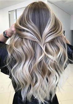Best Toasted Coconut Hair Colors for Long Hair Looks in 2019 – Balayage Hair Grey Balayage, Hair Color Balayage, Hair Highlights, Balayage Hairstyle, Blonde Balayage Long Hair, Short Balayage, Icy Blonde, Curly Hair Styles, Coconut Hair