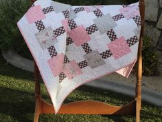 Ballerina Baby Quilt  Pink & Grey Quilt  by KarolynsQuilts on Etsy