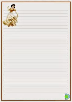 Disney Writing, Printable Lined Paper, Lilo E Stitch, Writing Paper, Planners, Stationary, Snow White, Printables, Baby