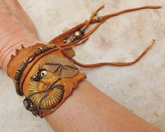 Adjustable Wrapped Elkhide Leather Cuff Bracelet with Fossil Ammonite, Handmade Bronze Elements, Baroque Pearls, and Czech Glass Beads