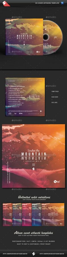 Under The Mountain  Chillout CD Cover Artwork Template — Photoshop PSD #artwork #mix • Available here → https://graphicriver.net/item/under-the-mountain-chillout-cd-cover-artwork-template/16437507?ref=pxcr
