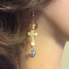 "Compassion cross heart drop dangle earrings,3""'howlite torquise glass,metal bead"