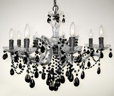 Classic Lighting Chandeliers 8348 CH CBK - 8 Light crystal chandelier with crystalique black crystal with chrome finish. Chandelier Bedroom, Black Chandelier, Wrought Iron Chandeliers, Crystal Chandeliers, Classic Lighting, Lowes Home Improvements, Black Crystals, Chrome Finish, House Colors