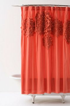 ruffled coral shower curtain | anthropologie home | bathrooms