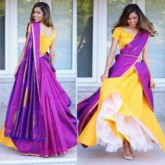 Lehenga Saree Design, Half Saree Lehenga, Indian Lehenga, Saree Blouse Designs, Sari, Saree Wearing Styles, Saree Styles, Indian Dresses, Indian Outfits