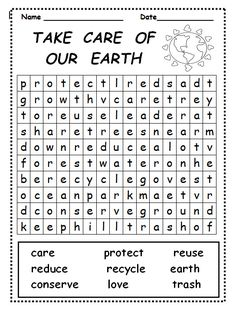 Take Care of Our Earth word search is great for use during Earth Week, a Lorax unit, or a science unit on conservation. See more science units at www.creativeclassroomconnections.com.