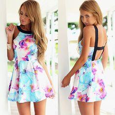 Sexy Backless Off-shoulder Floral Print Dress