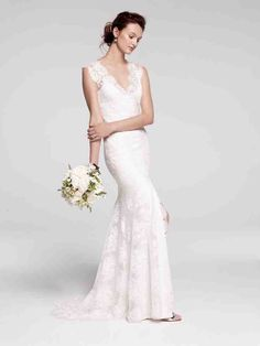Bliss Monique Lhuillier Chantilly lace sheath with signature open back, new to Nordstrom Wedding Suites Lazaro Wedding Dress, Wedding Dress 2013, Open Back Wedding Dress, Amazing Wedding Dress, Fall Wedding Dresses, Wedding Gowns, Bridesmaid Dresses, Lace Wedding, Bride Dresses