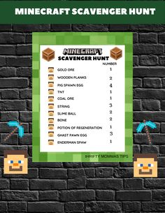 Minecraft Scavenger Hunt for Kids - Thrifty Mommas Tips Minecraft Scavenger Hunt, Scavenger Hunt For Kids, Word Games For Kids, Wii U Games, Used Video Games, My Kind Of Love, How To Play Minecraft, Crossword Puzzles, Kids Prints