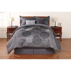 Grey Black Medallion Pattern Comforter Set Full Dark Black Gray Big Small Circles Geometric Motif Dots Shadow Printed Mandala Design Luxurious Trendy