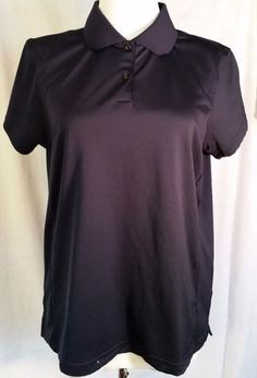 Adidas Polo Shirt Golf Top Collar ClimaLite Navy Short Sleeve Womens sz L large  #adidas #ShirtsTops
