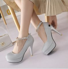 Stiletto High Heels Silver PU Party Ankle Strap Pumps High Heels Stilettos, Pumps, Silver Strappy Heels, Diy Shoe Storage, Your Shoes, Ankle Strap, Fashion Shoes, Party, Eye Makeup