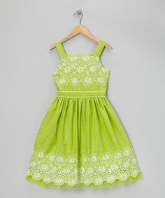 Take a look at this Lime Green Eyelet Daisy Dress - Girls by Bloome on #zulily today!