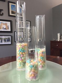 Candle holders filled with jelly beans for Easter!
