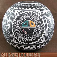 Acoma Pottery - Hand Crafted Sun Pot by Native American Artists E & L Vallo Jr. KS51277