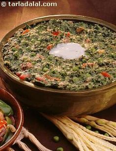 A tasty combination of fenugreek leaves and green peas which is highly filled with iron. This is a good way of adding fenugreek to the diet of those who are fussy about eating green leafy vegetables.
