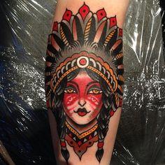 Native american girl in an awesome headdress // tattoo by Luke Jinks - London
