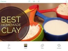 Best Homemade Clay  Here is the step to make our best homemade clay  best homemade clay recipe by clayitnow 395 Tools and materials:  Measuring cups 1 cup (250 ml) plain flour 1/2 cup (125 ml) Elmer's glue or wood glue 1/4 cup (60 ml) cornstarch or corn flour Moisturizer (hand/body lotion) - we use Vaseline 1 tsp olive oil (or cooking oil) 1/2 tsp vinegar
