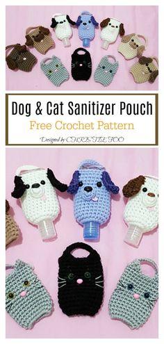Dog & Cat Sanitizer Pouch Free Crochet Pattern # crochet projects to sell free pattern fun Hand Sanitizer Cozy Free Crochet Pattern Minion Crochet Patterns, Quick Crochet Patterns, Crochet Cat Pattern, Crochet Mask, Crochet Pouch, Crochet Cozy, Free Crochet, Dog Crochet, Cute Pattern
