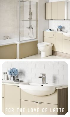 Better latte than never! Whatever your taste, original fitted can be tailored to you. Fitted Bathroom Furniture, Clutter, Double Vanity, Small Bathroom, Storage Spaces, Flooring, The Originals, Fitness, Gymnastics
