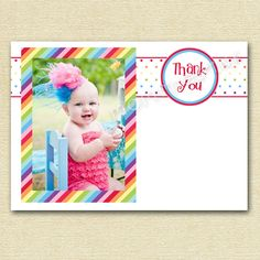 Mod Chic Rainbow Dots and Stripes Photo Thank You by MommiesInk, $12.00